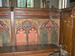 Beautifully carved and painted 17th century box pew